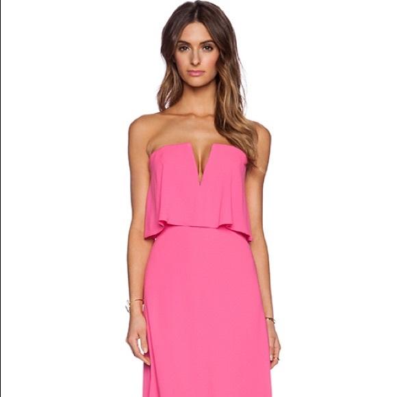 Bcbgmaxazria Dresses Neon Pink Alyse Long Formal Dress Poshmark